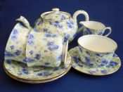 Rare Shelley Fine Bone China 'Blue Pansy' Chintz Tea for Two Set c1939